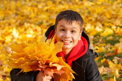 Happy smiling boy with autumn leaves Stock Images