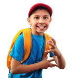 Happy smiling boy with backpack isolated over white Stock Images