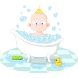 Happy Smiling Boy in the Bath. On White Background Stock Photography