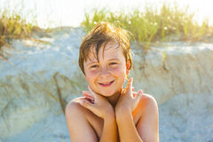 Happy smiling boy at the beach with wet hair Stock Images