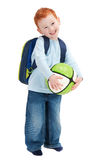 Happy smiling boy child with ball and school bag. Happy smiling boy with ball and school bag. Isolated on white Stock Photo