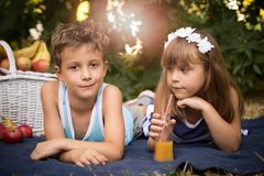 Happy smiling boy and girl lying together on a blanket and having a picnic stock photos