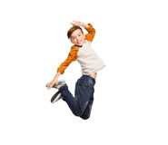 Happy smiling boy jumping in air Royalty Free Stock Images