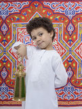 Happy Smiling Boy with Lantern Celebrating Ramadan Stock Photos