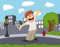 Happy and smiling boy standing on the street with city background cartoon Stock Photo
