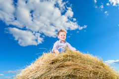 The happy smiling boy in the sunny summer day on stack of hay Stock Photos