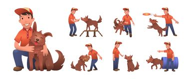 Happy smiling boy training his funny dog. Boy and dog playing together. Set of flat cartoon characters. Colored flat vector illustration
