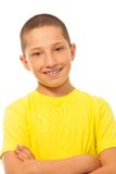 Happy smiling boy in yellow shirt Royalty Free Stock Images