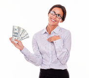 Happy smiling brunette businesswoman with money Royalty Free Stock Photos