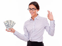 Happy smiling brunette businesswoman with money Royalty Free Stock Photo