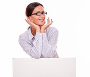 Happy smiling brunette businesswoman with placard Stock Photos