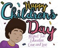 Happy Brunette Girl Celebrating Children Day with Confetti Shower, Vector Illustration. Happy smiling brunette girl, celebrating Children`s Day under a confetti Stock Image