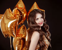 Happy smiling brunette woman portrait. Attractive girl with long Royalty Free Stock Photo