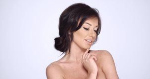 Happy Smiling Brunette Woman Posing on White stock video footage