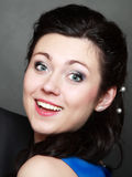 Happy smiling brunette young woman portrait Stock Photography