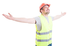 Happy smiling builder or constructor enjoying victory Stock Photography