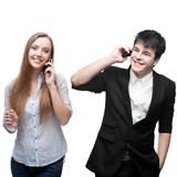 Happy smiling business people calling by mobile telephone Stock Images