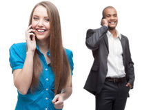 Happy smiling business people calling by mobile telephone Royalty Free Stock Photos