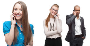 Happy smiling business people calling by mobile telephone Royalty Free Stock Photography