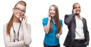 Happy smiling business people calling by mobile telephone Stock Photo
