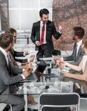 Various meetings of businessmen for reading documents. Happy smiling business people discussing and working together at office stock image