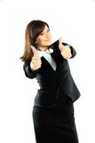 Happy smiling business woman. With ok hand sign Royalty Free Stock Photo
