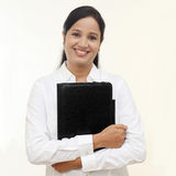 Happy smiling business woman with black folder Royalty Free Stock Photography