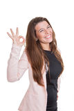 Happy smiling business woman giving ok sign Stock Image