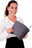 Happy smiling business woman holding folder Stock Photo