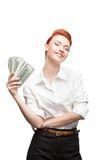 Happy smiling business woman holding money Royalty Free Stock Images