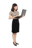 Smiling business woman with laptop Stock Photos