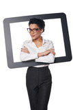 Happy smiling business woman looking through frame Stock Photos