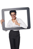 Happy smiling business woman looking through frame Royalty Free Stock Photos