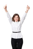 Happy smiling business woman with ok hand sign. On white background Royalty Free Stock Photo