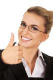 Happy smiling business woman with ok hand sign Royalty Free Stock Image