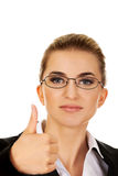 Happy smiling business woman with ok hand sign.  royalty free stock photo