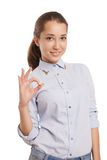 Happy smiling business woman with ok hand sign Royalty Free Stock Photos