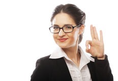 Happy smiling business woman with okay gesture Royalty Free Stock Photography