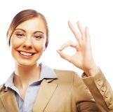 Happy smiling business woman with okay gesture Stock Photo