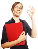 Happy smiling business woman with okay gesture Royalty Free Stock Photo