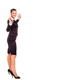 Happy smiling business woman showing Stock Photos