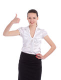 Happy smiling business woman showing thumbs up ges Stock Images