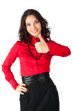 Happy smiling business woman with thumb up sign Stock Photography