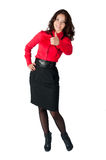 Happy smiling business woman with thumb up sign Stock Photo