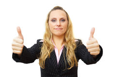 Happy smiling business woman with thumbs up gesture Stock Photos