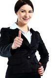 Happy smiling business woman with thumbs up gesture Royalty Free Stock Photos