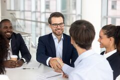 Free Happy Smiling Businessman Handshake With Business Partner For Successful Agreement Royalty Free Stock Photo - 174209455
