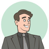 Happy smiling businessman looking away. Vector illustration of happy smiling businessman looking away accurate layer organised for easy colour customisation Royalty Free Stock Images