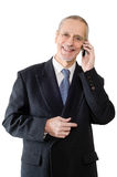 Happy and Smiling Businessman on Phone Royalty Free Stock Photo