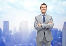 Happy smiling businessman in suit Royalty Free Stock Images